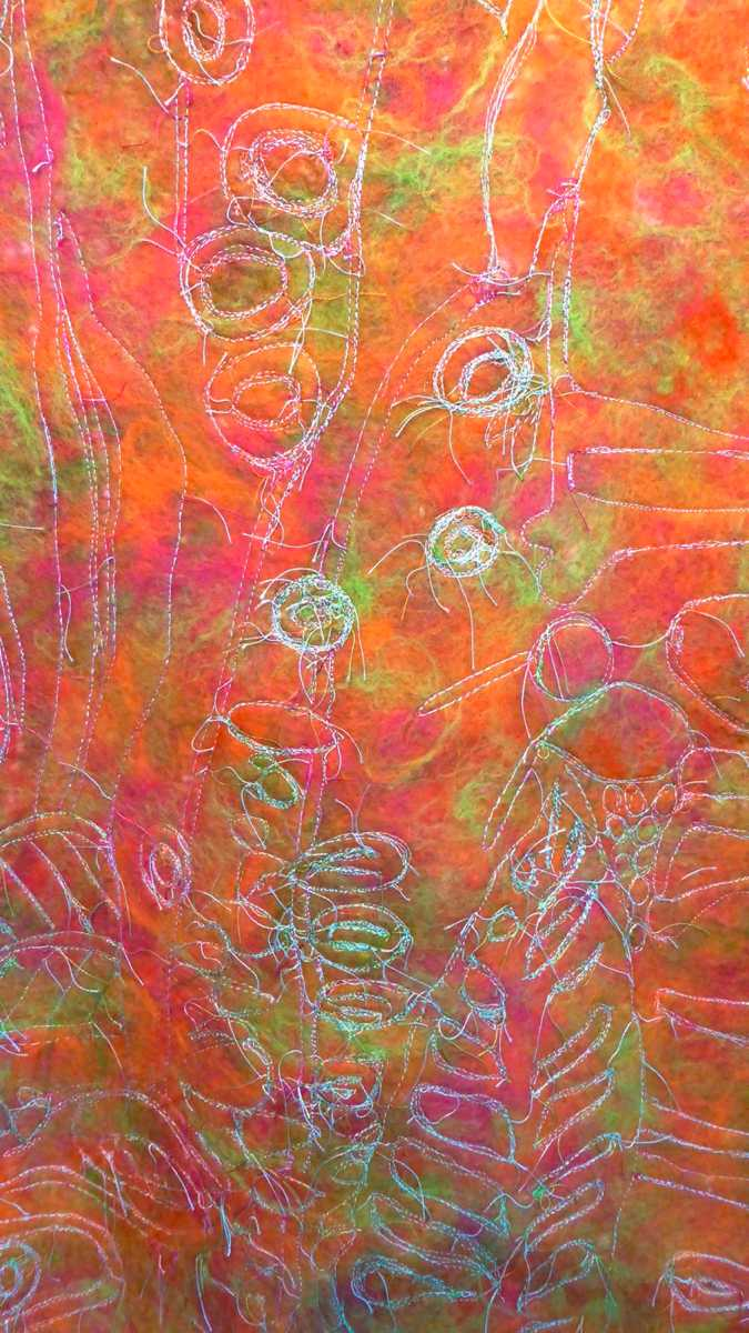 Close up of stitched felted wall hanging by Andrea McCallum Textile Artist