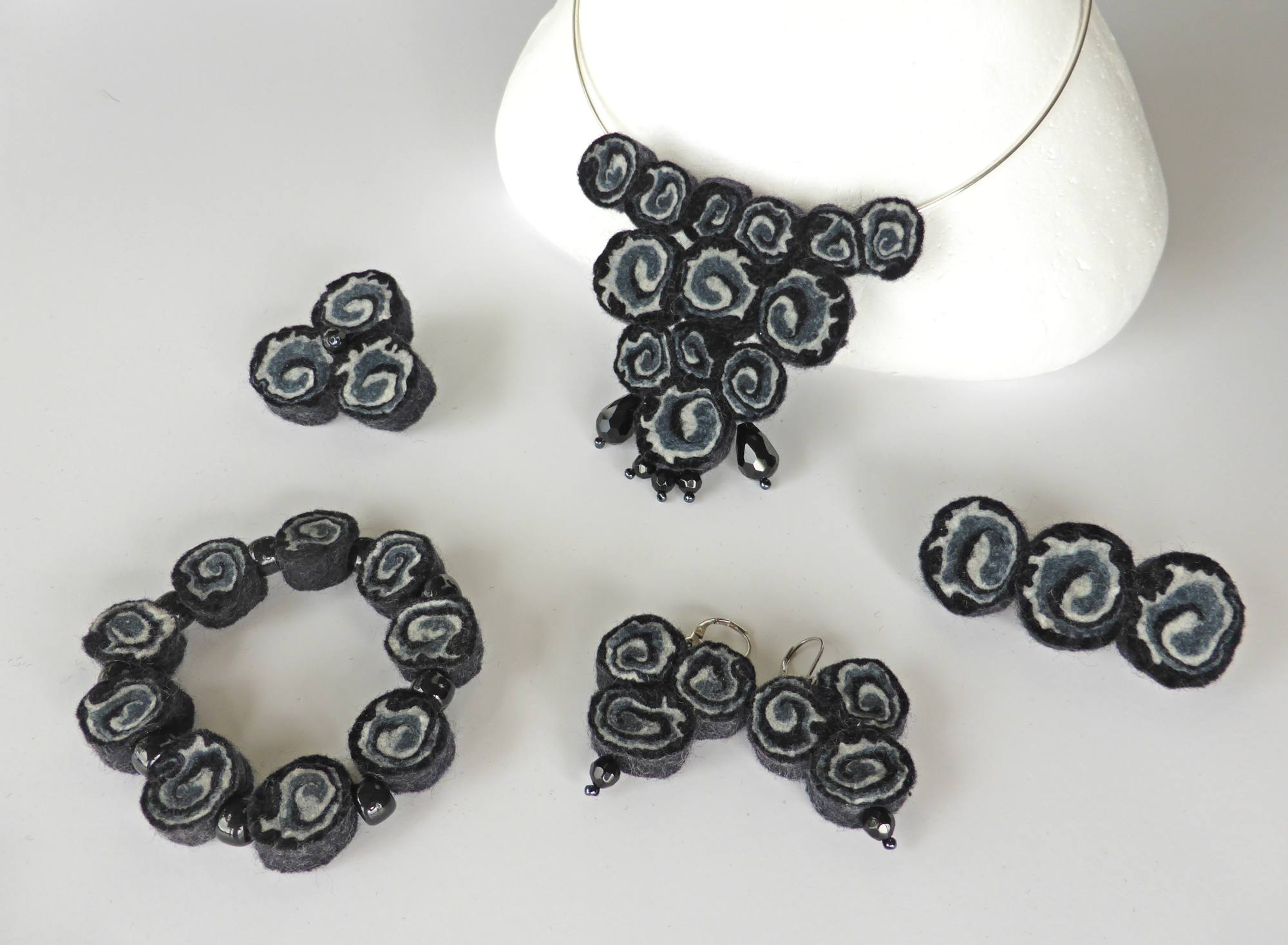 Black Felt Spiral Jewellery by Andrea McCallum