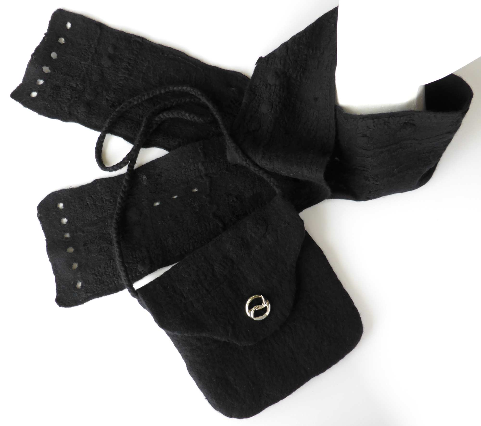 Black Textured Felt Bag & Scarf by Andrea McCallum