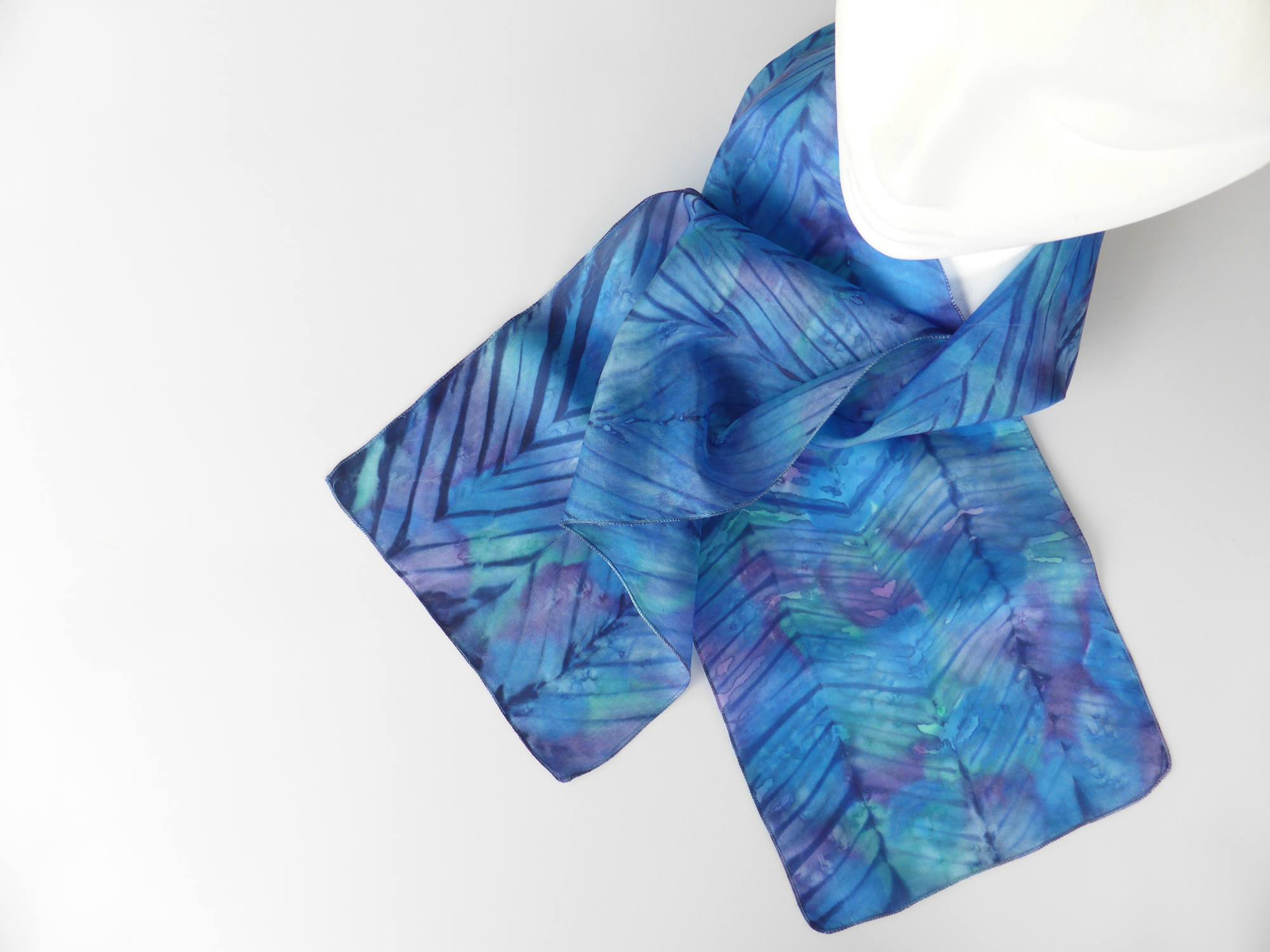 Black & Purple Arashi Shibori Silk Scarf by Andrea McCallum