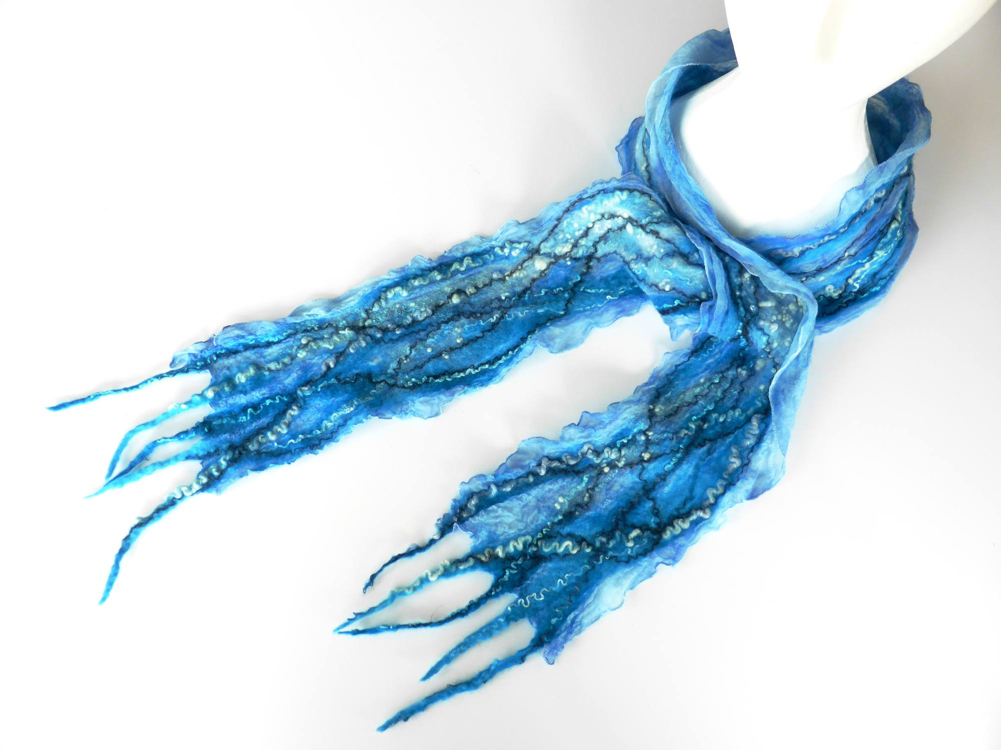Blue Water Felt Scarf by Andrea McCallum