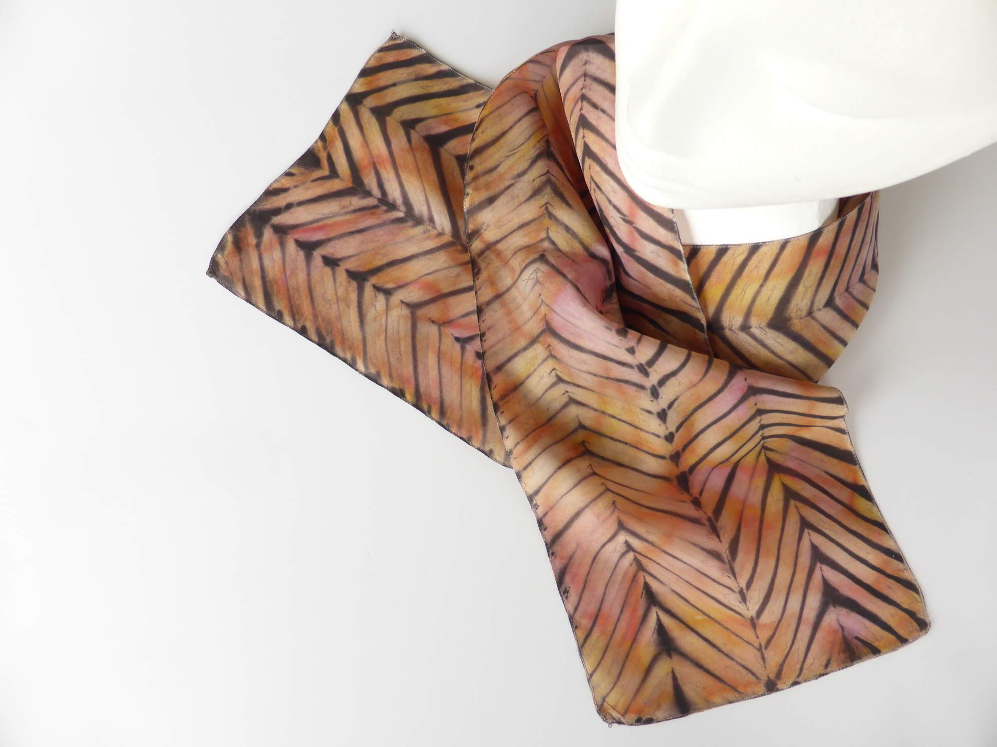 Gold & Orange Arashi Shibori Silk Scarf by Andrea McCallum