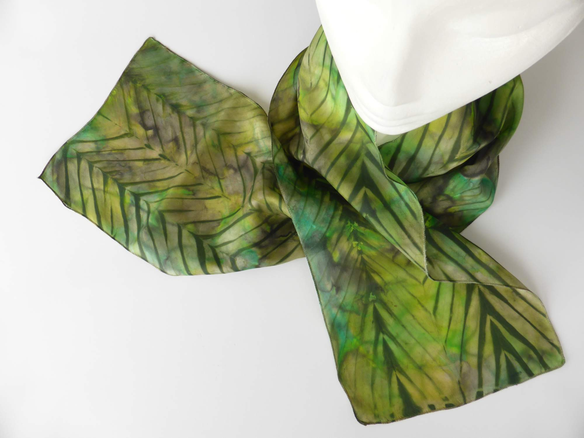 Green Arashi Shibori Silk Scarf by Andrea McCallum