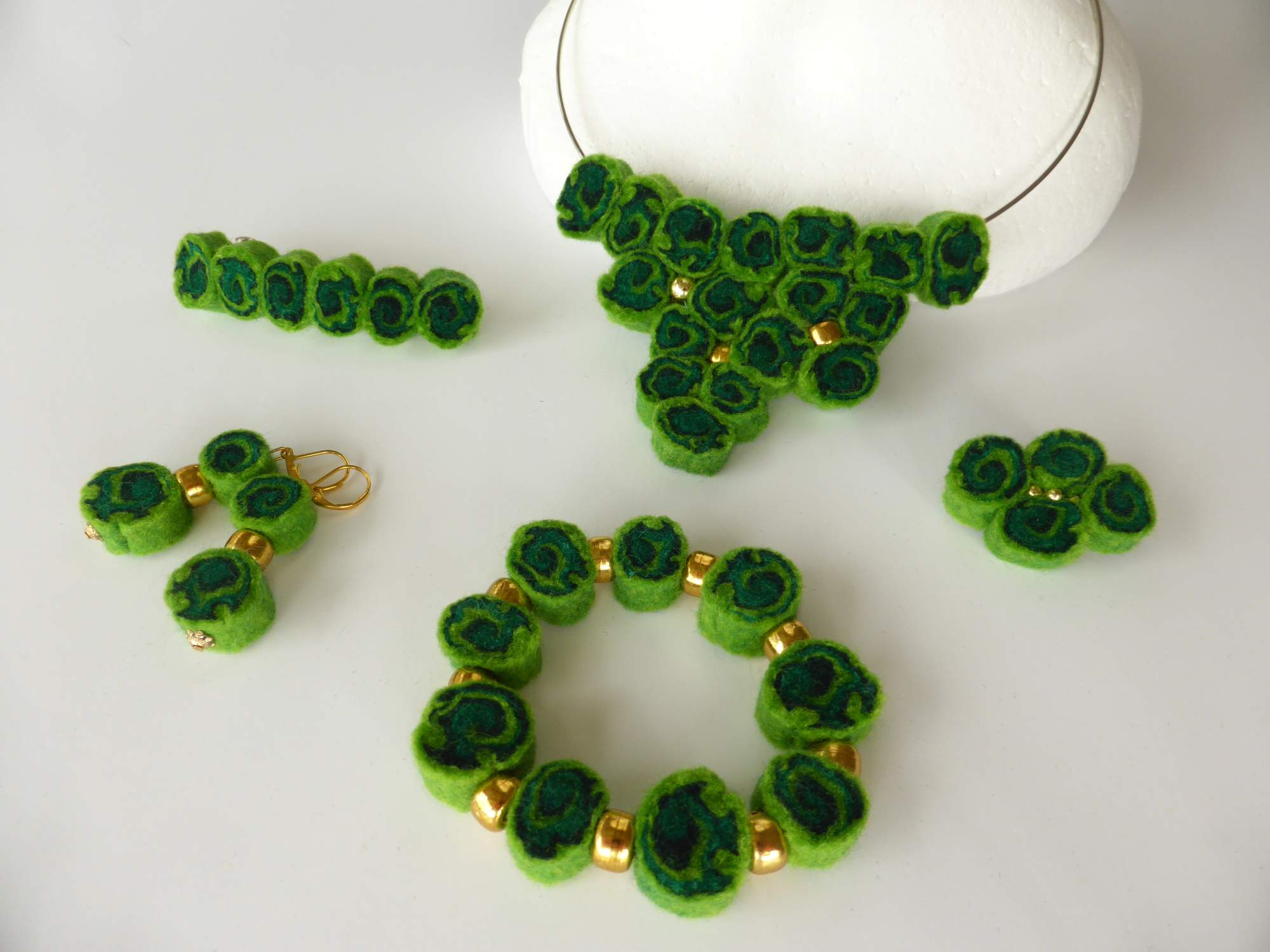Green Felt Spiral Jewellery by Andrea McCallum