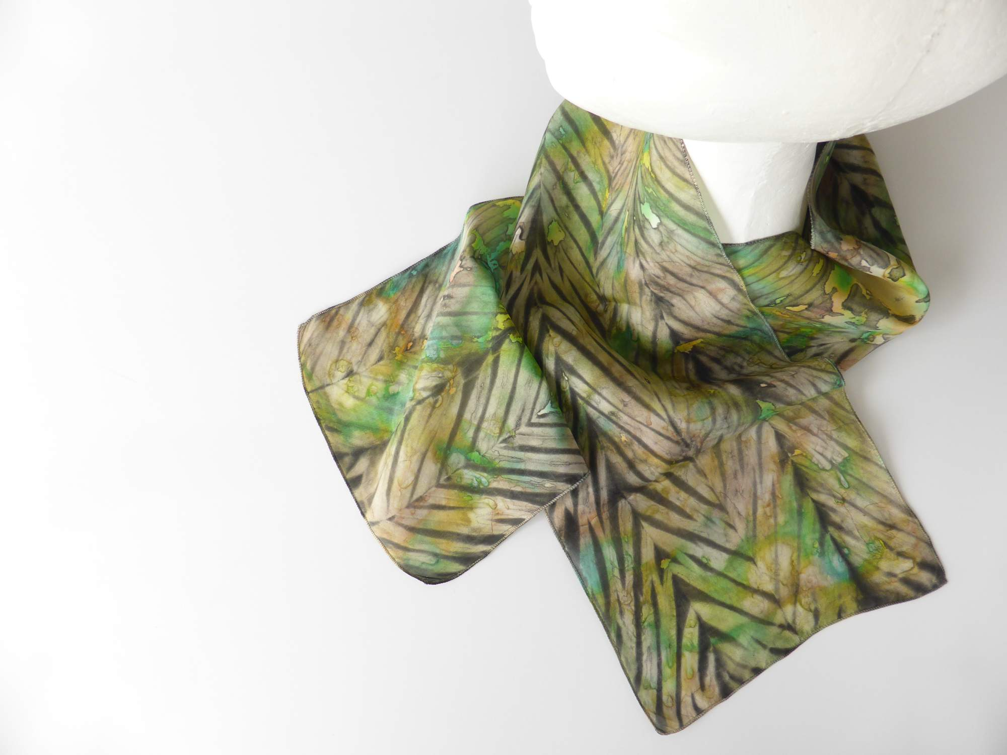 Green, Yellow & Brown Arashi Shibori Silk Scarf by Andrea McCallum