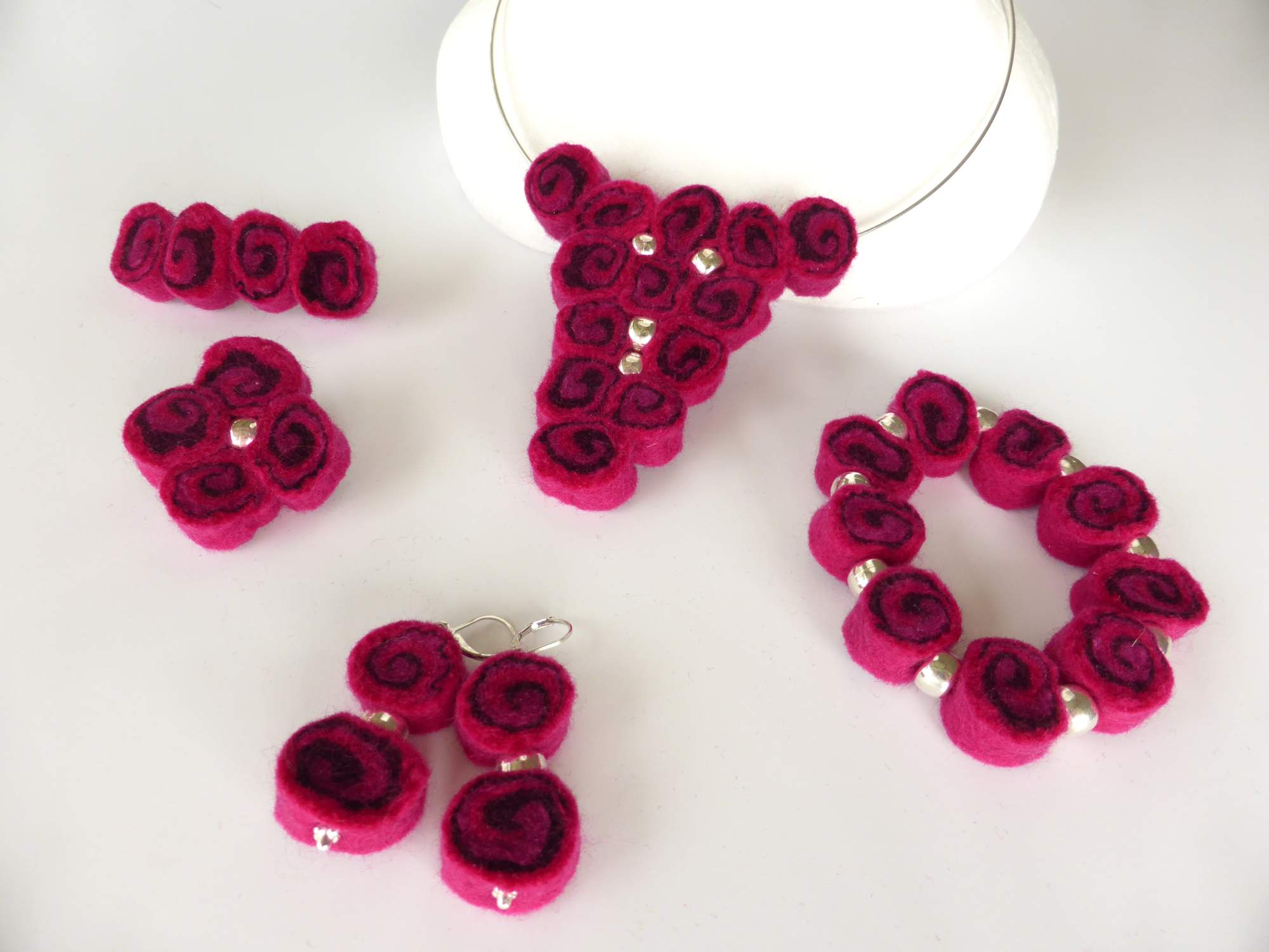 Pink Felt Spiral Jewellery by Andrea McCallum