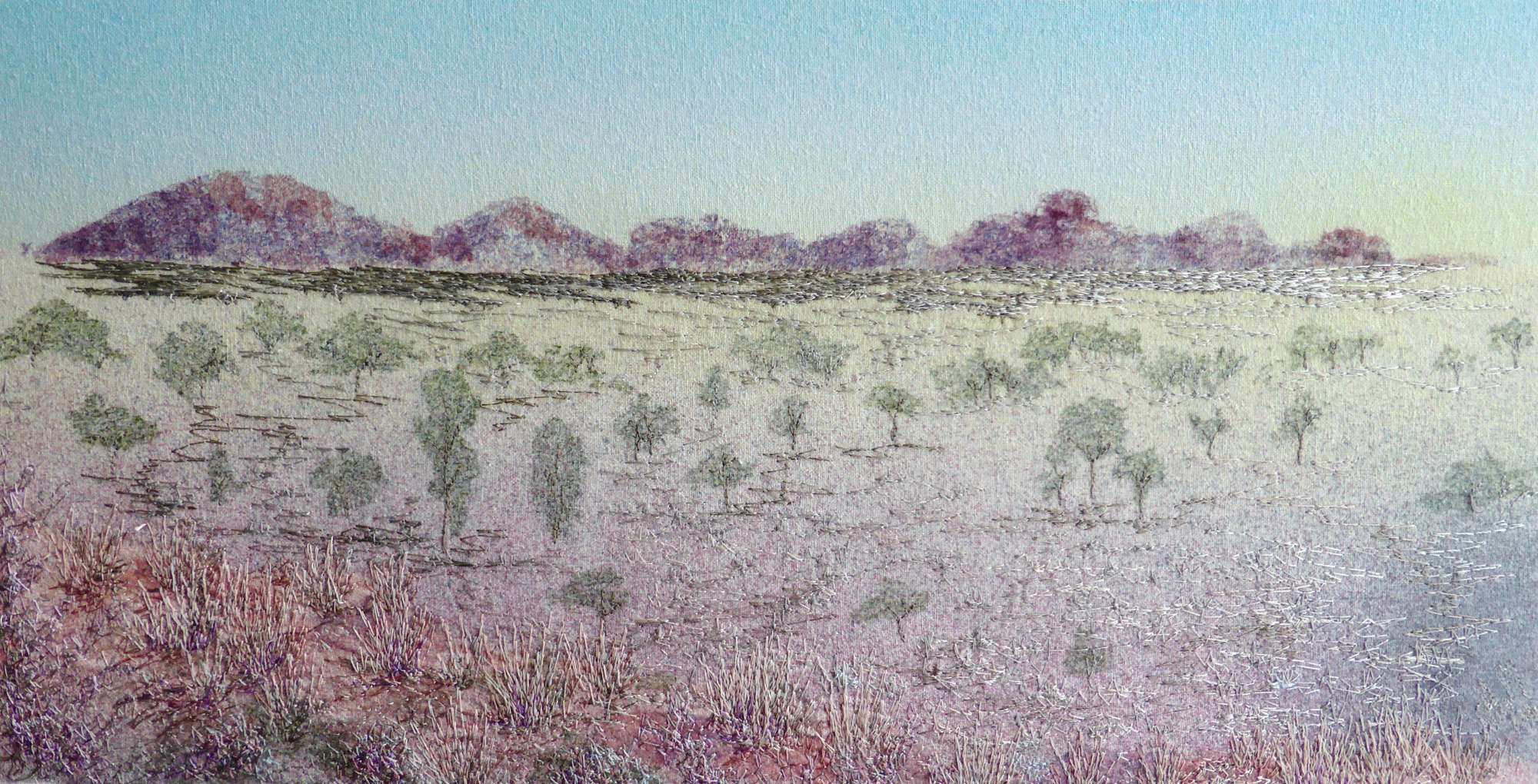 Sunrise over Kata Tjuta (2014) Free-motion machine embroidery by Andrea McCallum by Andrea McCallum