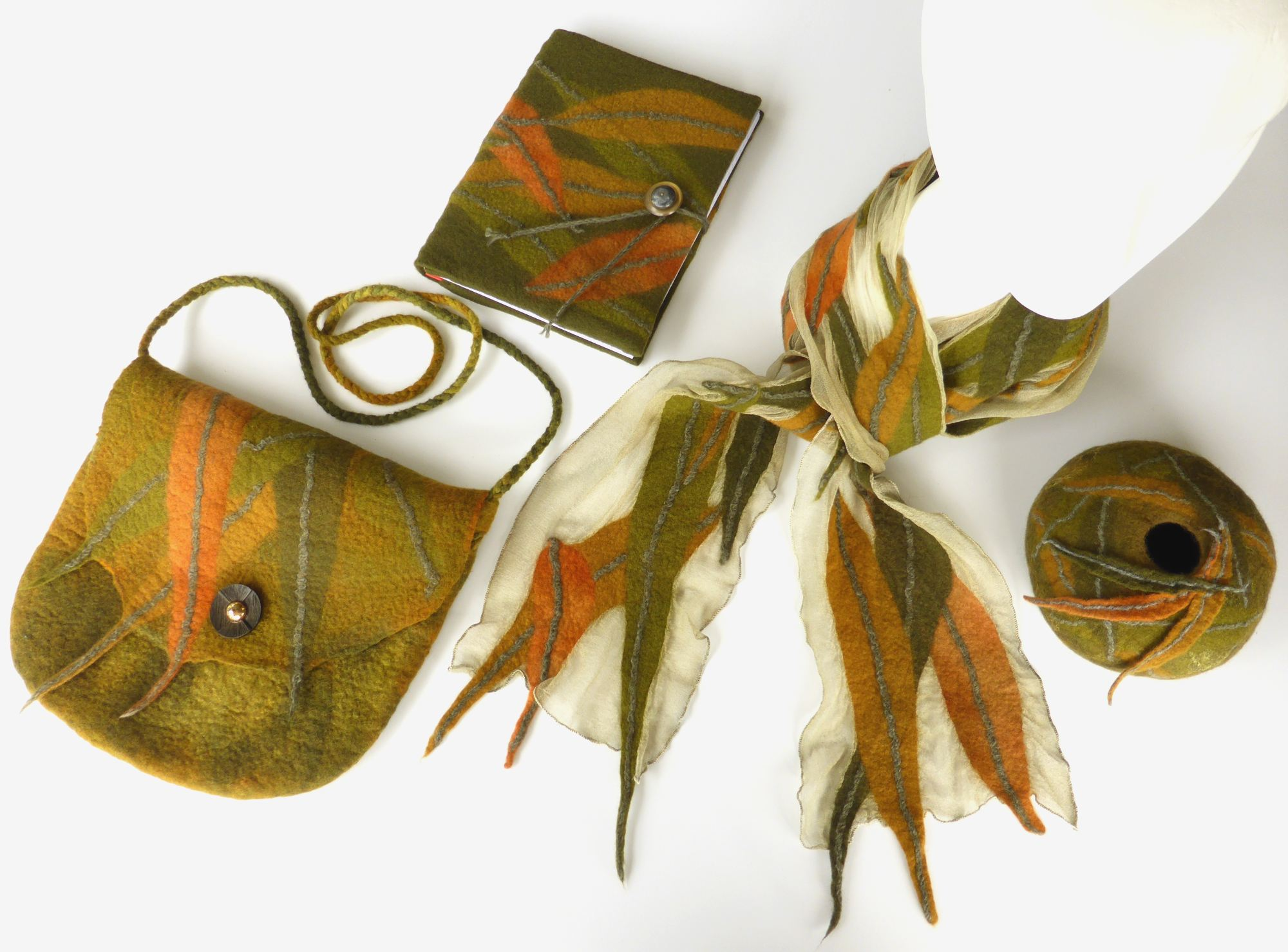Eucalyptus leaves felt series - scarf, bag and book (2016) by Andrea McCallum