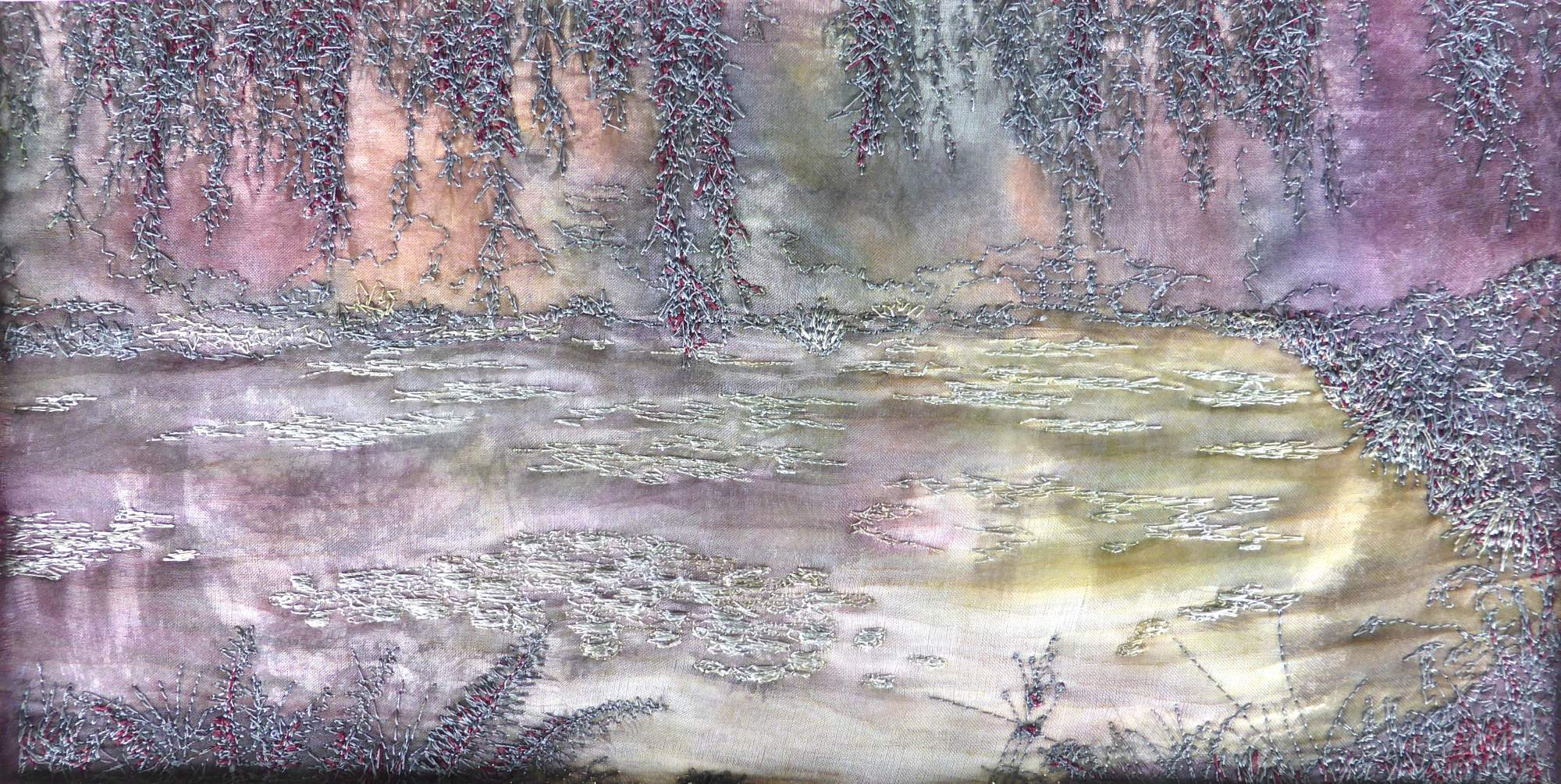 Impression - Lily Pond (2014) textile art by Andrea McCallum